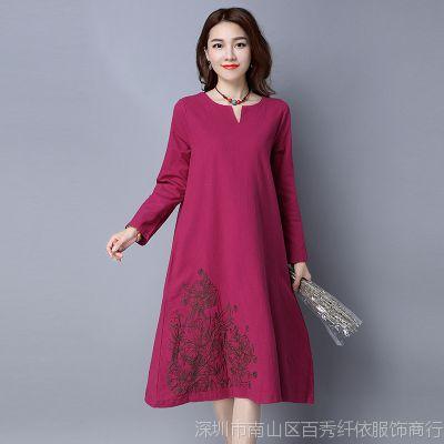 【实拍】新款棉麻大码显瘦文艺风长袖刺绣A字大摆连衣裙