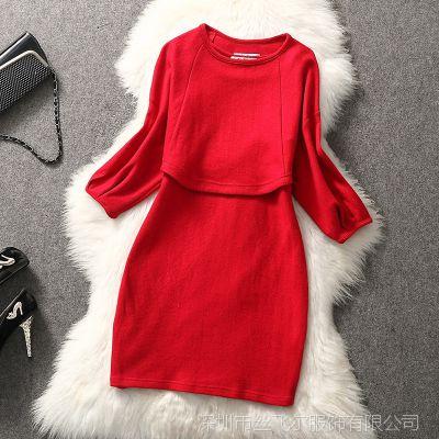 反季节特价清仓秋冬款欧美高端女装高档羊毛呢背心裙外套两件套