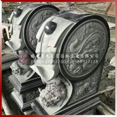 供应精致浮雕青石抱鼓 惠安有做石雕抱鼓石的厂家九龙星园林古建