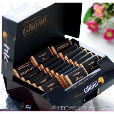 韩国进口乐天加纳纯黑巧克力 牛奶巧克力 90g 零食礼品批发