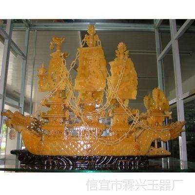 供应广东商务 节庆礼品 玉器 送礼佳品 一帆风顺 精工红玉龙船b001