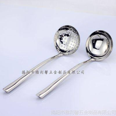 防烫不锈钢 火锅勺漏 边炉分汤勺 厨具汤壳 空心柄镜面抛光