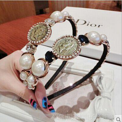 PH227 韩国欧美风复古超美女王头像珍珠宝石发箍珍珠头箍