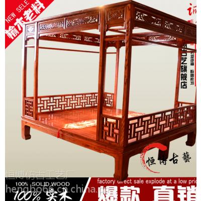仿古实木架子床老榆木手工雕花双人床中式榫卯结构拔步床特价
