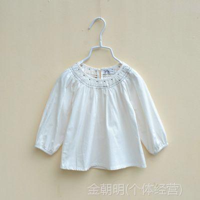 315896 女童长袖衬衫 领口刺绣套头衬衫 娃娃衫 2色入