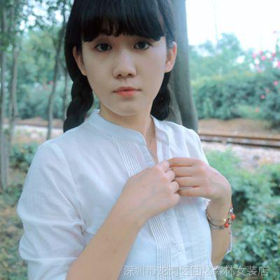 14新款女式衬衫 文艺百搭简约风琴褶立领花边白色七分袖长袖衬衫