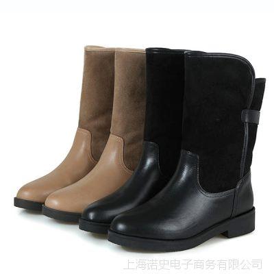 雪地靴批发 广州厂家爆款热销平底女式真皮厚毛里棉鞋棉靴子TA622