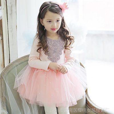 秋款童装新品 女童纯棉花边领拼网纱钉珠长袖公主连衣裙 童裙