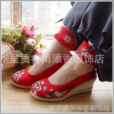 批发老北京绣花鞋坡跟布鞋民族风厚底女鞋大码高跟单鞋 红色11-9