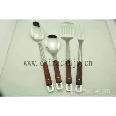 【厂家供应】三线木纹夹柄 锅铲漏勺 不锈钢厨具 韩式厨具  201