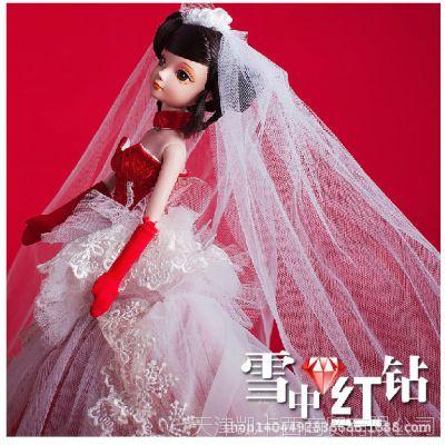 正品可儿娃娃婚纱手工衣服限量芭比玩具奢华结婚礼物-雪中红钻