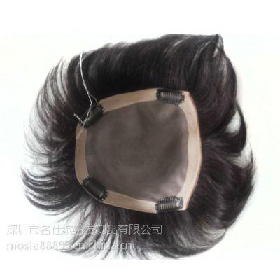 供应名仕无痕补发块 增加发量 发丝补发片女士 100%真发手织发块 黑色