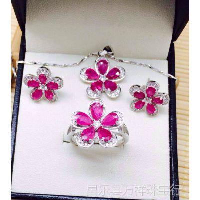 一家珠宝,925银镶天然红宝石时尚新款套装,送链子