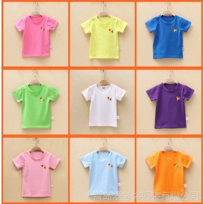 【爆款】韩版外贸夏季童装纯棉童背心儿童短袖糖果色儿童t恤厂家