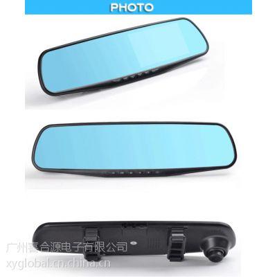 源喜工厂批发 高清后视镜显示器4.3寸双路行车记录仪