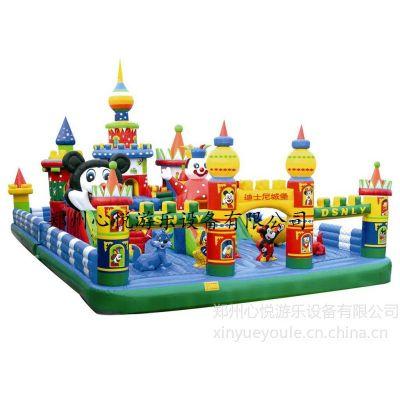 供应120平方新款大型的迪士尼充气城堡乐园价格 蹦蹦床专用材料