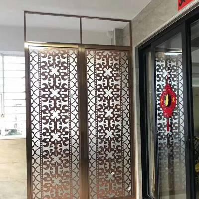 佛山低价订制铝板雕刻屏风豪华住宅安装铝艺屏风图案