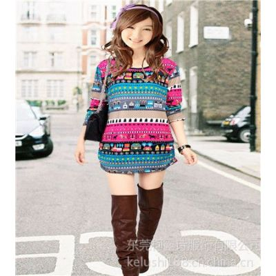 供应2013秋冬季新款韩版女士大码长款宽松打底衫长袖T恤时尚女式t恤