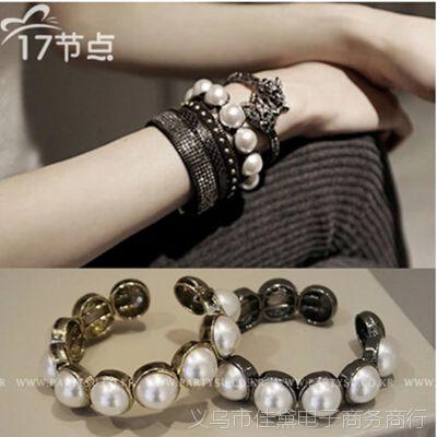韩国代购配饰品女时尚韩版复古夸张欧美风大珍珠装饰开口手镯手链