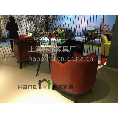 韩尔工厂订做咖啡厅简约沙发 咖啡厅实木扶手沙发