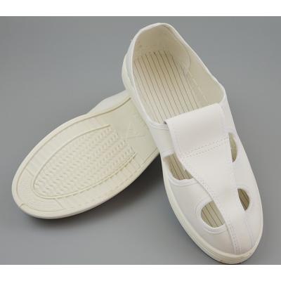 劳保用品厂家直销防静电四孔眼布鞋防静电白蓝藏青色帆布皮革无尘工作鞋子