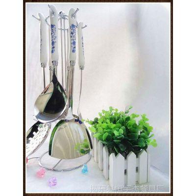 印logo|公司年会礼品|银行赠品|供应|青花瓷厨具勺铲六件套礼品装