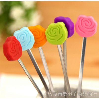 批发2只装糖果色不锈钢搅拌棒 取用棒 果酱棒果汁棒玫瑰花搅动棒