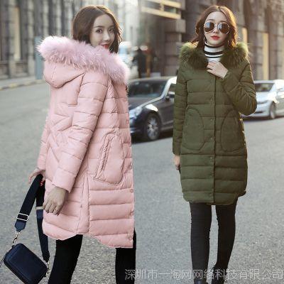 冬季时尚韩版貉子毛女式棉衣时尚新款棉袄女装冬季中长款潮W11H35
