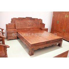 供应东阳杜邦红木著名品牌老红木厂家婚庆家具批发1.8米百子大床