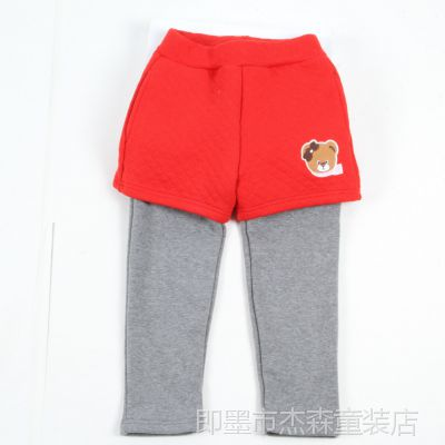 青岛外贸童装 韩版冬季新款 时尚卡通短裤合搭加绒女童长裤 童裤