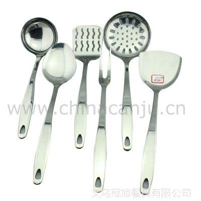 【厂家供应】四厘光柄厨具 锅铲 铲勺 漏勺 不锈钢 厨具套装