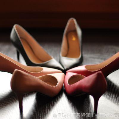 外贸欧美鞋2015新款真皮尖头女单鞋夜店高跟鞋夏细跟糖果色婚鞋
