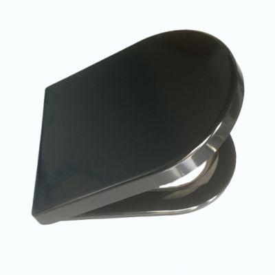 盛滕现货销售孔距可调坐便盖板 黑色D形普通坐便器盖板