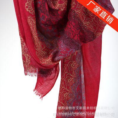 2014新款  高级印花   欧美秋冬季女士羊绒围巾-