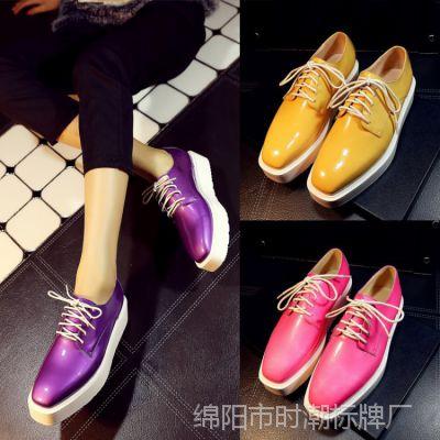 外贸春季真皮女鞋新款欧美增高女单鞋系带松糕鞋 代理加盟