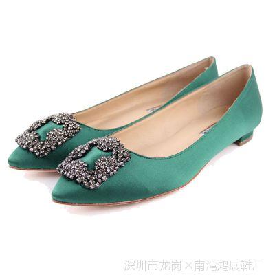 2015外贸欧美新款品牌尖头平底鞋流行水钻方扣女鞋平跟平底女单鞋