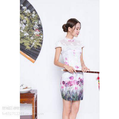 惠州唐夫人一件代发新款印花改良时尚绸缎旗袍连衣裙订货收腰气质包臀群自产自销批发M/L两码