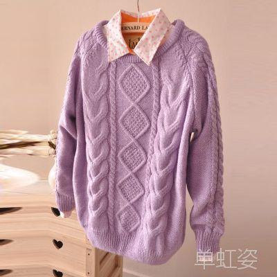 2013春秋新款女装 韩版宽松复古圆领麻花套头毛衣女 针织衫外套