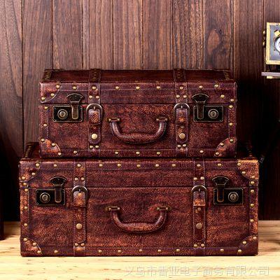 美式乡村复古木箱铁艺木制收纳箱子道具箱茶几箱老箱子批发