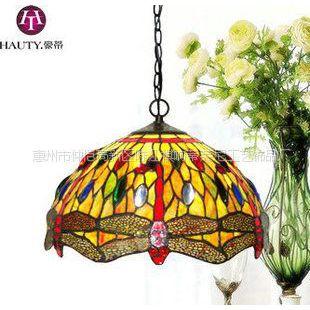 供应蒂凡尼蜻蜓吊灯 12寸彩色玻璃灯暖黄 餐厅咖啡厅酒吧艺术装饰灯具
