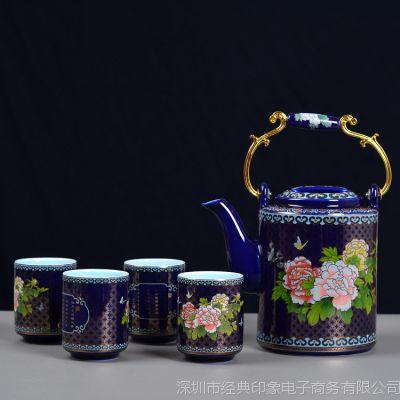 深圳景泰蓝珐琅彩工艺茶具批发 花间茶语高档陶瓷茶具礼品定制