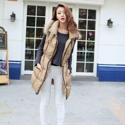 秋冬新款韩国品质 时尚修身中长款马甲 超大貉毛领女式马甲