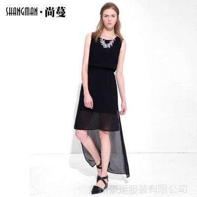 2015夏季新款欧洲站雪纺连衣裙 时尚女装欧美纯色无袖连衣裙D2394