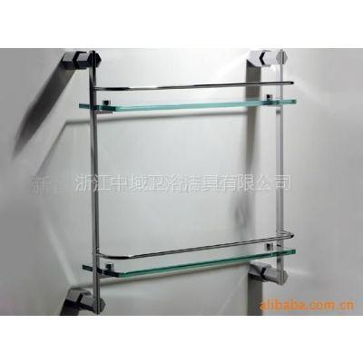 供应优质纯铜 镀铬 带护栏和钢化玻璃 双层连锁置物架