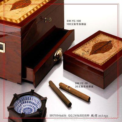 【厂家定制】高光油漆古巴雪茄烟木盒 精品香烟木盒包装定制