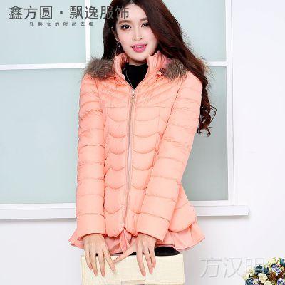 新款女式羽绒服 韩版气质罗纹袖女棉衣爆款潮外套 保暖羽绒服批发