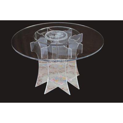 供应亚克力双色家居.广告定制水晶餐桌 透明圆桌 有转盘 有机玻璃家具