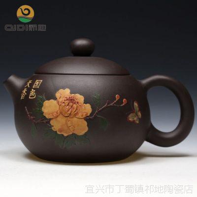 混批定制名家精品茶具宜兴原矿紫砂壶 周惠初全手工国色天香西施