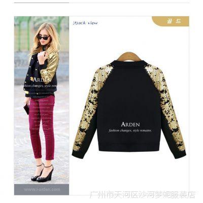 2014秋装新款女装欧美流行亮片黑金色彩搭配螺纹拉链小外套