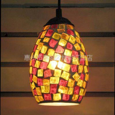 供应欧式仿古灯具  简约吊灯吧台 马赛克玻璃单头餐厅吊灯(乱片)